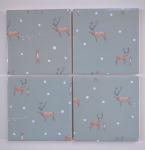4 Ceramic Coasters in Sophie Allport Mini Stag in Snow